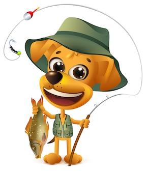 Il pescatore giallo divertente del cane tiene i grandi pesci. pesca di successo grande cattura. isolato su bianco fumetto illustrazione