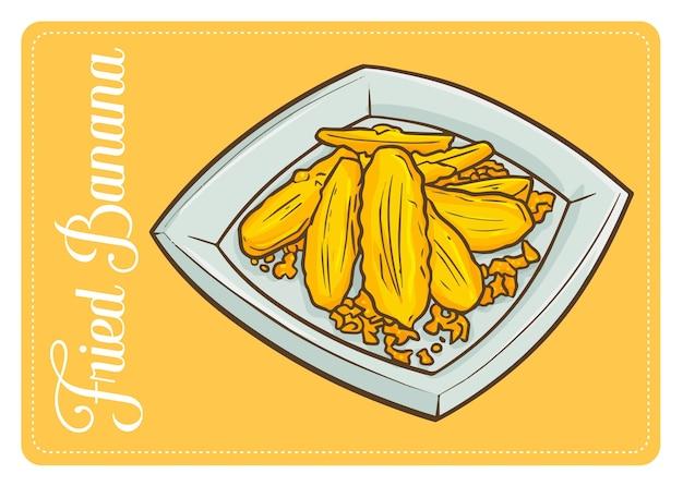 Divertente e gustosa banana fritta, o