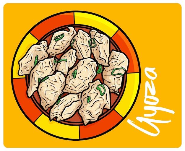 Gyoza divertente e gustoso un pasto asiatico in stile doodle