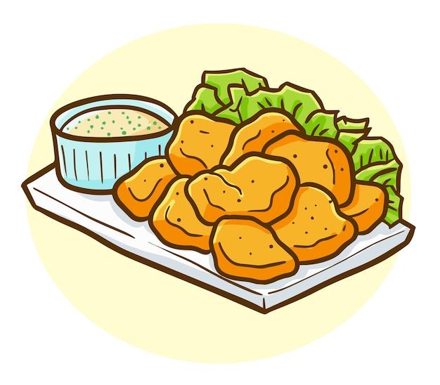 Pepita di pollo kawaii divertente e gustosa su un piatto pronto da mangiare