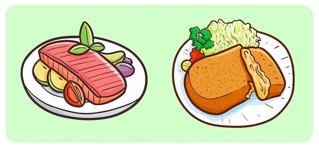 Carne fritta semplice divertente e gustosa con verdure e frutta pronta da mangiare.