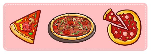 Illustrazione divertente e gustosa di tre diverse pizze.