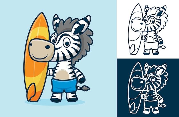 Zebra divertente in piedi mentre si tiene la tavola da surf. illustrazione del fumetto in stile icona piatta