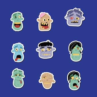 Set di icone avatar zombie divertente