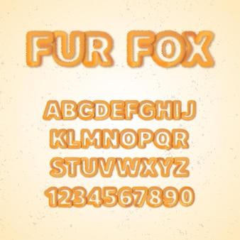 Caratteri dell'alfabeto di pelliccia di volpe