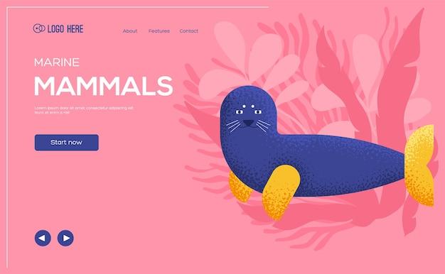 Volantino di concetto di foca da pelliccia, banner web, intestazione dell'interfaccia utente, entra nel sito. .
