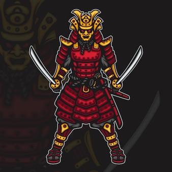 Illustrazione della mascotte di esport del guerriero samurai giapponese furioso