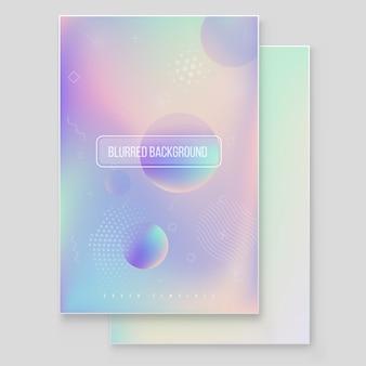 Set di copertura olografica moderna furistica. stile retrò anni '90 e '80. elementi olografici geometrici grafici stile hipster. grafica iridescente per brochure, banner, carta da parati, schermo mobile