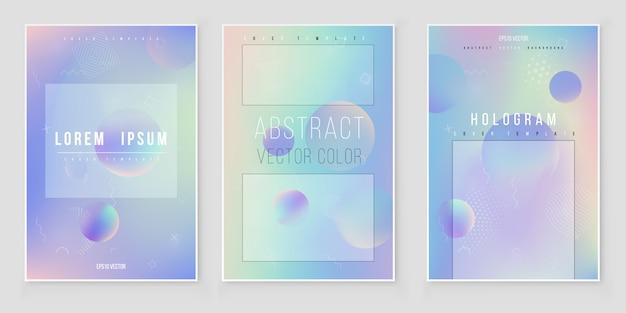 Set di copertine olografico moderno e furistico. stile retrò anni '90, '80.
