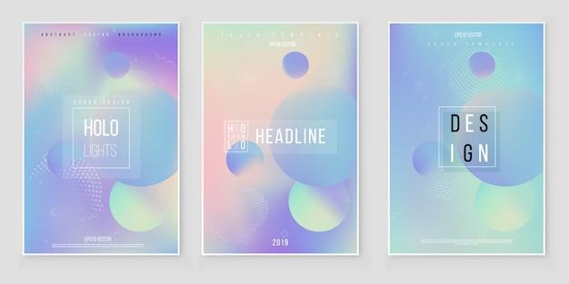 Set di copertura olografica moderna furistica. stile retrò anni '90 e '80.