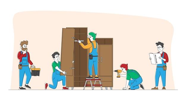 Operai di montaggio di mobili lavori di riparazione e installazione Vettore Premium