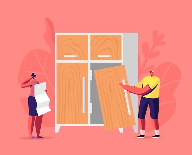 Illustrazione di assemblaggio di mobili, carpenteria e falegnameria