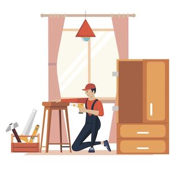 Illustrazione di concetto di assemblaggio di mobili. operai di fabbricazione con strumenti professionali. aiuto dal professionista del negozio di mobili. illustrazione piatta dei cartoni animati