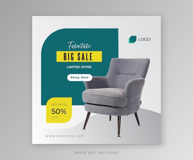 Post di social media di grande vendita di mobili
