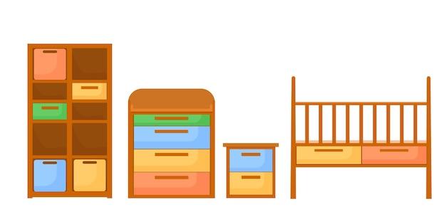 Mobili per la cameretta dei bambini, un letto, una cassettiera, una rastrelliera per i giocattoli e un piedistallo. vettore