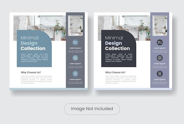 Set di modelli di banner per post sui social media della collezione di mobili