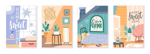 Composizioni di mobili. elementi interni della casa con scritte, citazioni scritte a mano, angoli lounge dell'appartamento scandi, arredamento delle camere. insieme di vettore