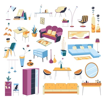 Mobili e decorazioni per la disposizione e lo styling degli interni della casa. divani e divani, tavolini e armadi. soggiorno o camera da letto, ufficio sul posto di lavoro o cambio, vettore in stile piatto