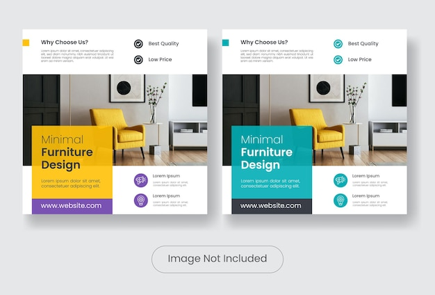 Set di modelli di banner per post sui social media di design di mobili