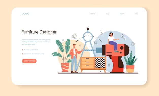 Banner web o pagina di destinazione del designer di mobili. illustrazione vettoriale isolato
