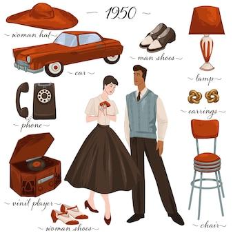 Mobili e moda anni '50, uomo e donna che indossano abiti tradizionali degli anni '50. uomo e donna con auto e telefono, orecchini e scarpe, lampada e sgabello sedia minimalista. vettore in stile piatto
