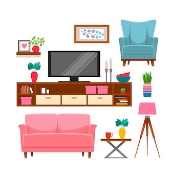 Set di mobili e accessori per la casa.