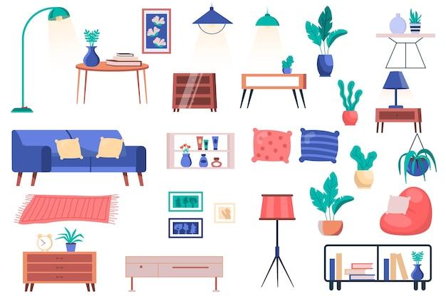 Set di mobili per la casa, piante e elementi decorativi isolati pacchetto di divani con cuscini, lampade da tavolo