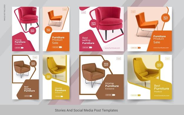 Modelli di post sui social media di storie insta di mobili