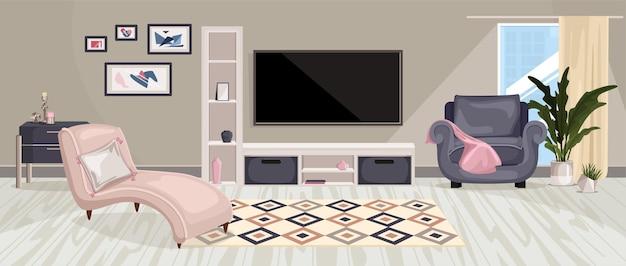 Composizione interna di mobili con vista orizzontale del soggiorno con dipinti di mobili di design