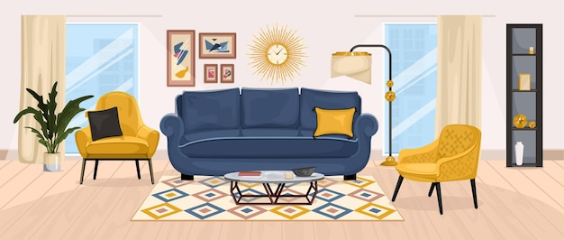 Composizione interna di mobili con vista sul soggiorno con divano sedie morbide windows