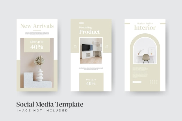 Modello di storie di instagram di vendita di interni di mobili