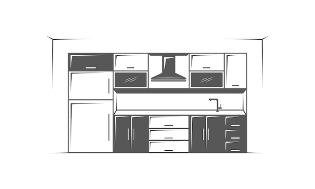 Mobili cucina camera minimalista su sfondo bianco logo