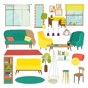 Mobili per soggiorno, illustrazione vettoriale. divano, sedia, tavolo per la collezione di interni moderni e decorazioni per la casa. isolato su poltrona bianca, libreria, tappeto, lampada e specchio piatto.