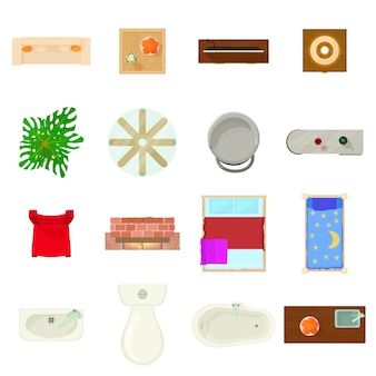 Set di icone del piano di mobili. un'illustrazione del fumetto di 16 icone di vettore di piano della mobilia per il web