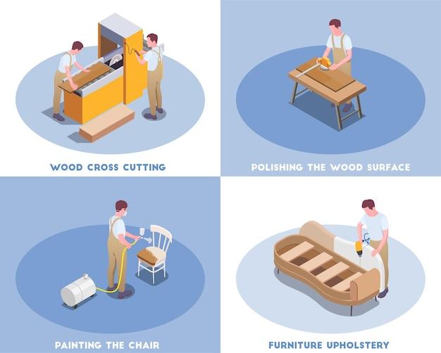 Produzione di mobili dall'illustrazione isometrica del concetto di artigiano