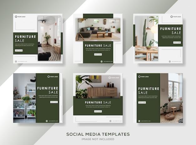 Modello di banner di vendita di mobili per post social media.