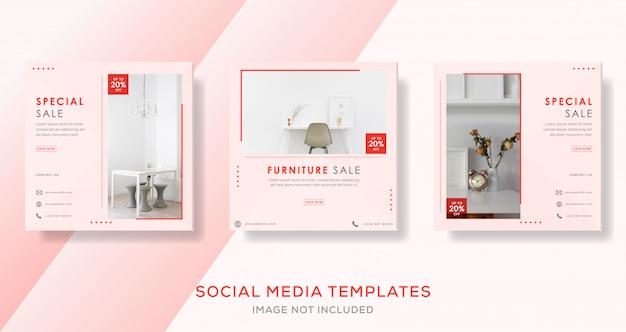 Modello di banner di vendita di mobili per post di social media