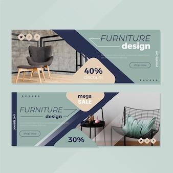 Collezione di banner di vendita di mobili con immagine