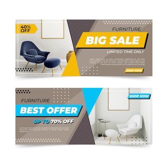 Collezione di banner di vendita di mobili con foto