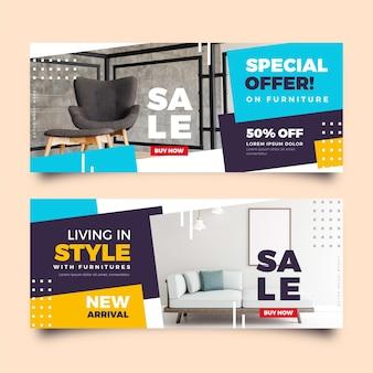 Pacchetto di banner di vendita di mobili con foto