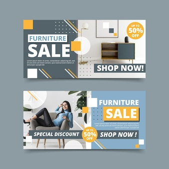 Banner di vendita di mobili con immagine