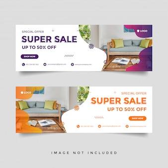 Modello di annuncio banner copertina facebook di vendita di mobili