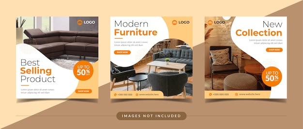 Modello di post sui social media per la vendita di mobili e la decorazione della casa