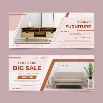 Banner orizzontale di vendita di mobili con foto