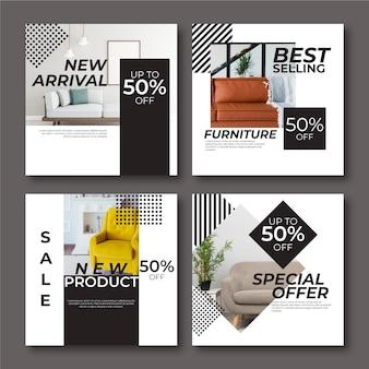 Set di post di instagram di vendita di mobili