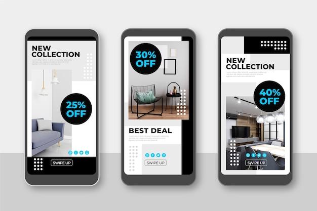 Raccolta di storie di instagram di vendita di mobili