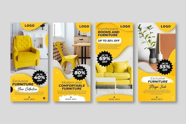 Storie di instagram di vendita di mobili con foto