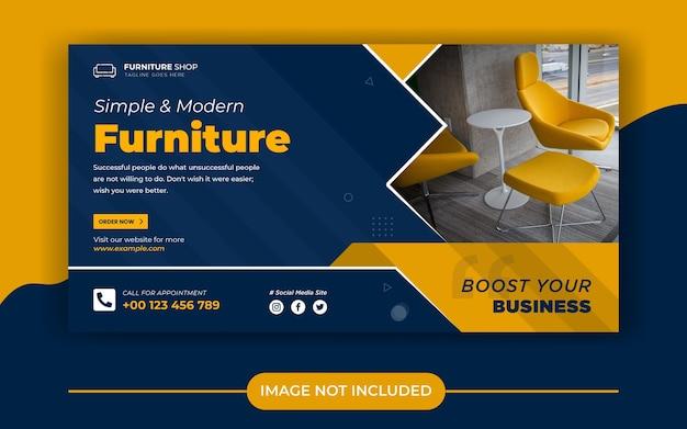 Modello di post banner social media di vendita di mobili