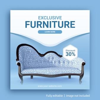 Modello di banner pubblicitario post sui social media di vendita di mobili