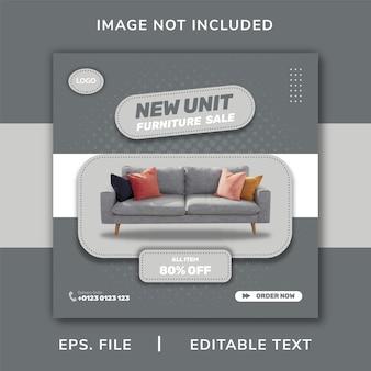 Vendita di mobili promozione sui social media e design di banner per instagram